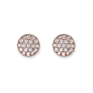 Rose Gold Pave Disc Stud Earrings