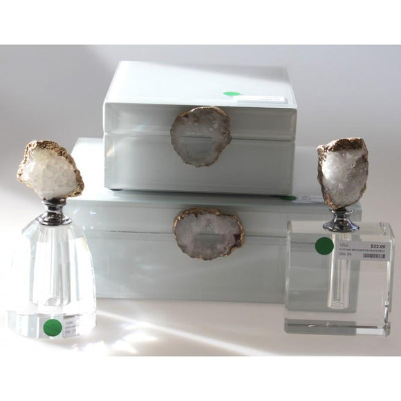 White Glass Jewel Box Agate Deco Small