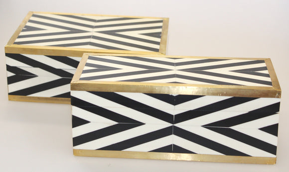 Black/White & Brass Trim Deco Box