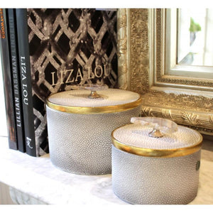 Grey Round Decor Box with Grey Stone