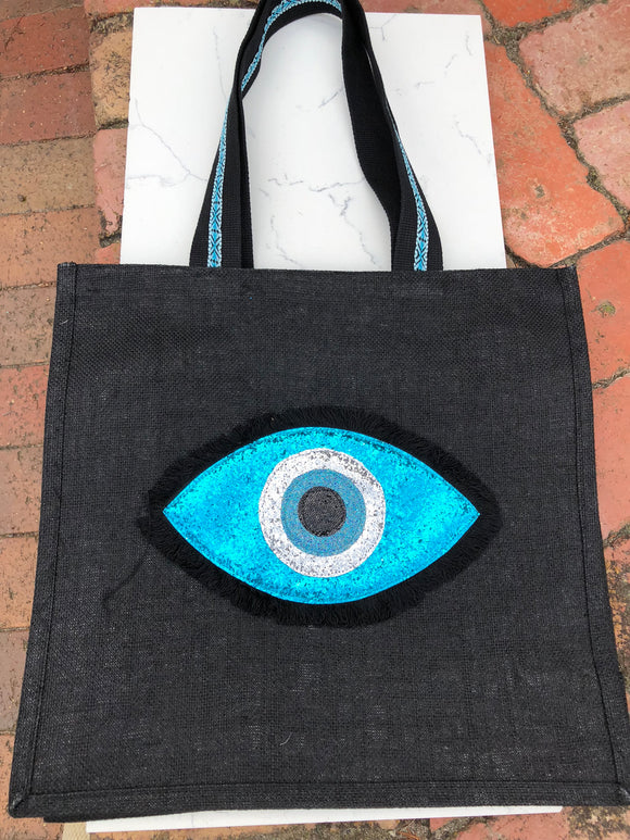 Black Evil Eye Tote Bag
