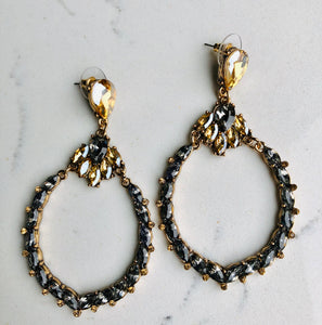 Topaz/Black Fashion Earrings