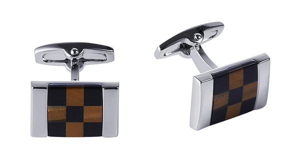 Rhodium Onyx Tiger Eye Check Cufflinks