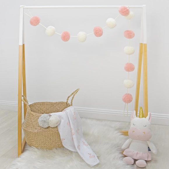 Pompom Garland - Blush/White