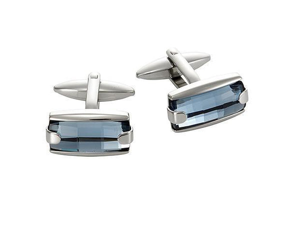 Stainless Steel & Aqua Marine Crystal Cufflinks