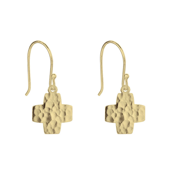 Hammered Cross earrings  Gold