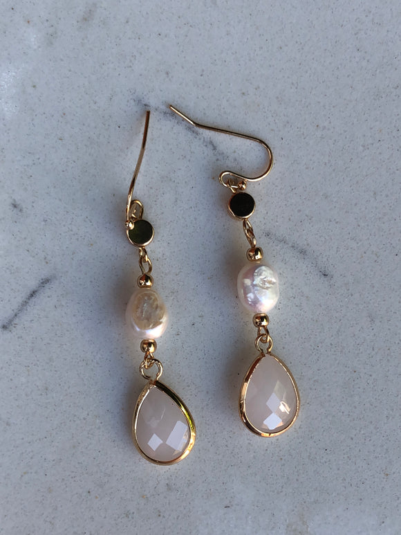 Pearl Glass Facet Drop Earrings