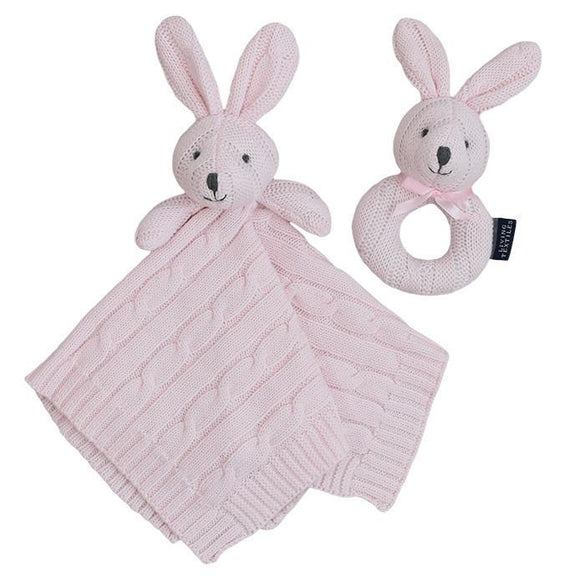 Security knit blanket & Rattle Gift Set - Bunny