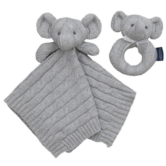 Security knit blanket & Rattle Gift Set - Elephant
