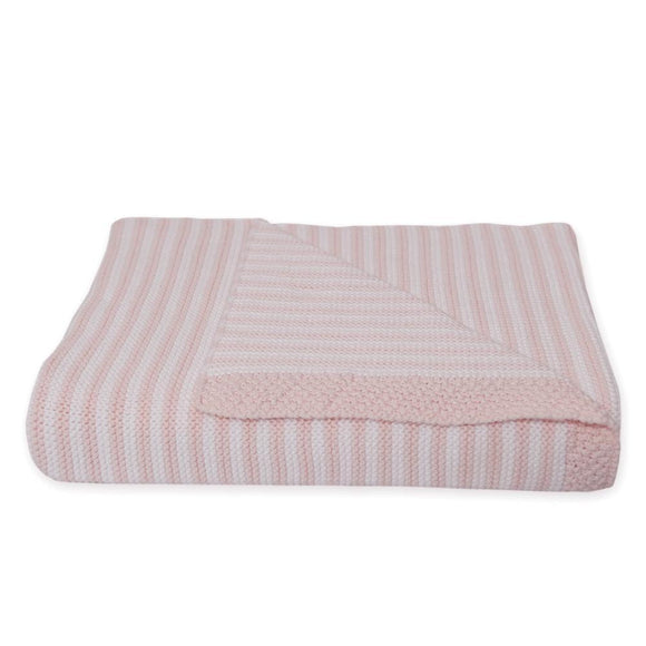 Knitted Stripe Blanket - Blush/White