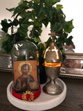 Wooden Icon enclosed in a glass Cloche