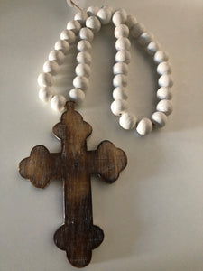 Cross natural distressed w/ white beads