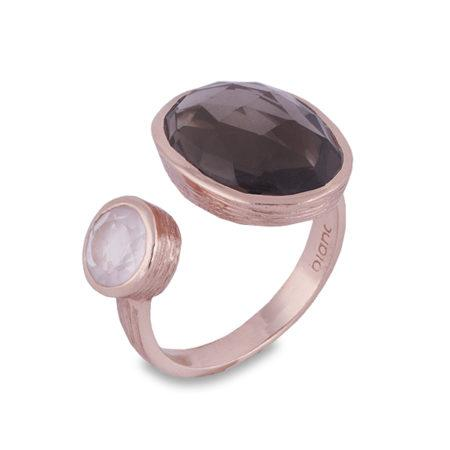 Rose Gold Smokey Quartz & Rose Quartz Split Ring