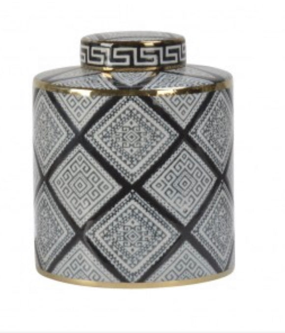Chateau Black/White with Gold Ceramic Jar