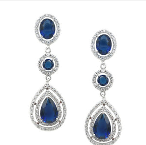 CZ Three Tier Drop Earrings DB