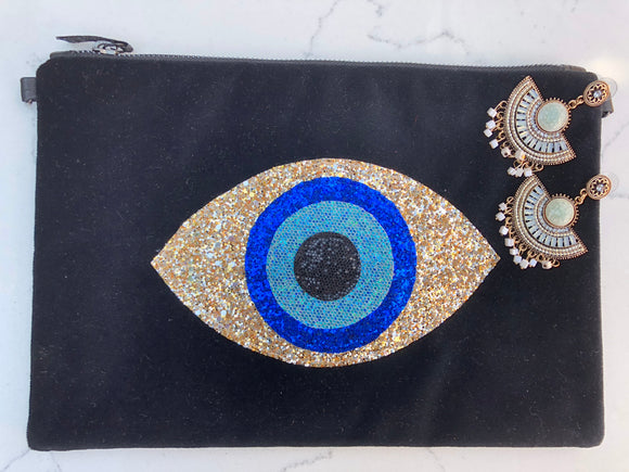 Black Velvet Evil Eye Clutch