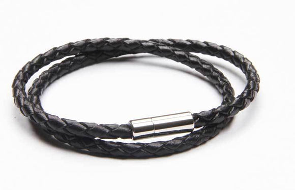Black Leather Double Bracelet