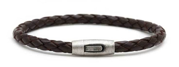 Brown Leather Bracelet with Antique Steel Clasp