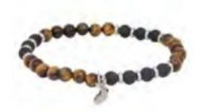 Tiger Eye & Black Agate Bead Bracelet