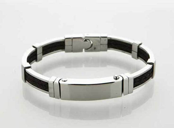 Stainless Steel & Brown Leather Bangle
