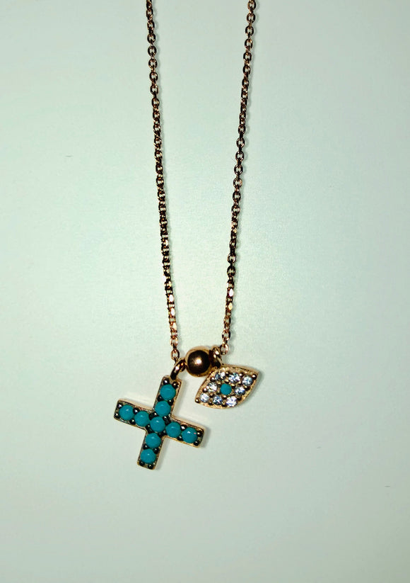 Cross Necklace with Nano Turquoise