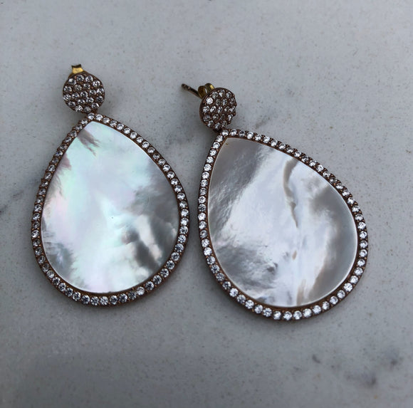 Mother of Pearl Tardrop Rose Gold Earrings