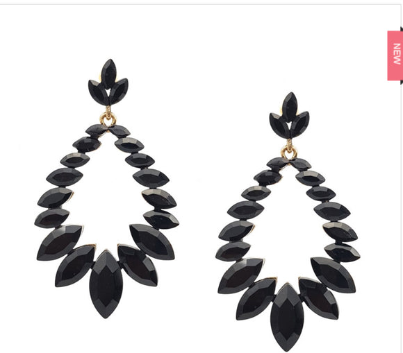 Marquis stone earrings black