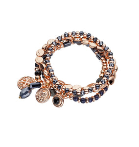 Four strand bracelet with charms black