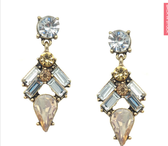 Diamante topaz/clear earrings
