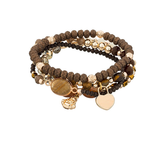 Four strand bracelet with charms brown