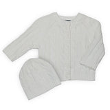 Cable Knit Cardigan & Beanie - White