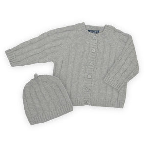 Cable Knit Cardigan & Beanie - Grey