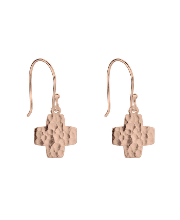 Hammered cross earrings Rose/Gold