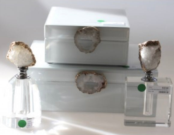 White Glass Jewel Box Agate Deco Large