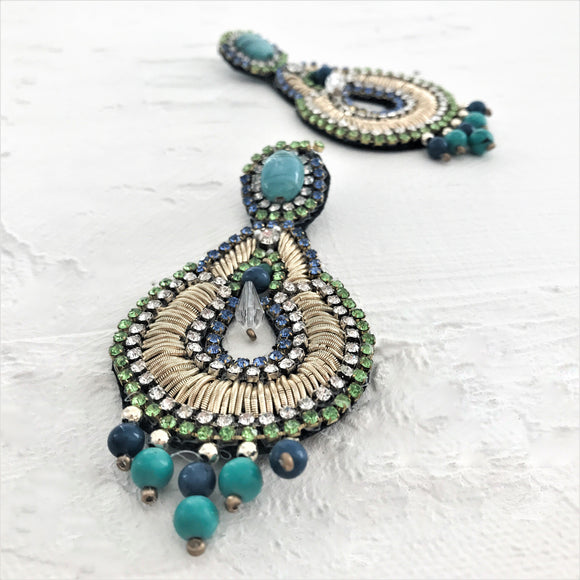 Stone Top Beaded Droplets Teardrop Earring