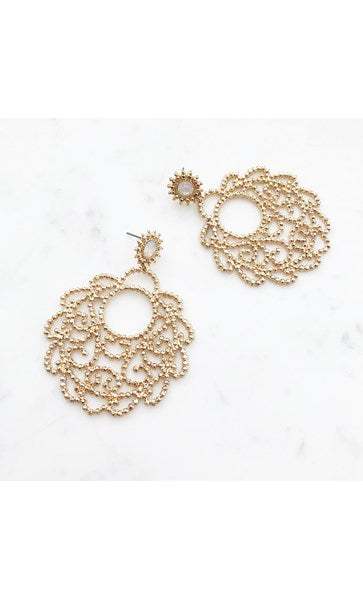 TEXTURED METAL FILIGREE DROP EARRING Gold