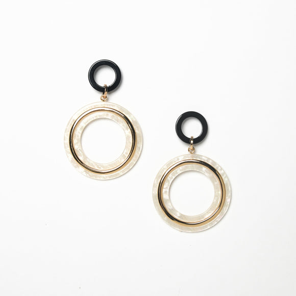 Metal Detail Resin Circles Earrings