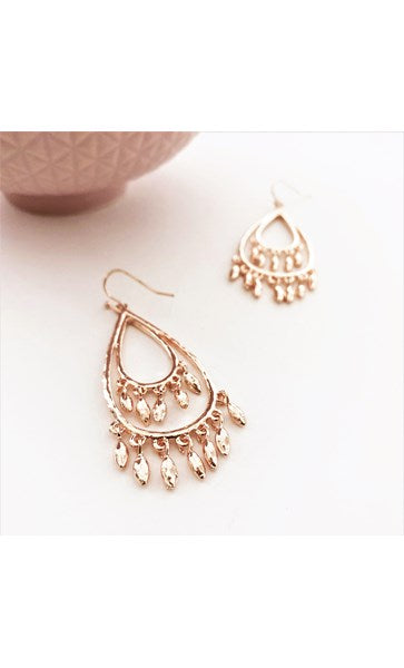 Metal Teardrops & Charms Hook Earrings