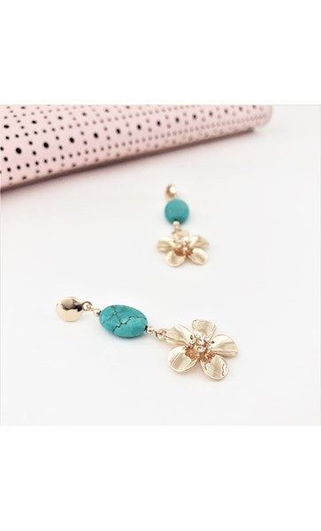 Daisy Drop Stone Mix Mid Earrings