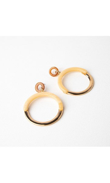 HALF METAL HALF RESIN RING DROP EARRINGS