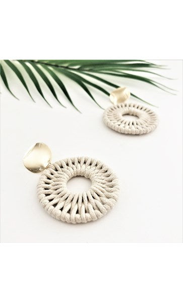 Woven Circle Metal Earrings