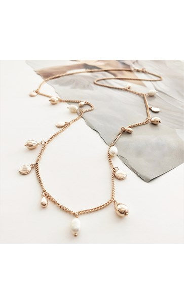FRESH WATER PEARL & METAL DISC CHARMS NECKLACE