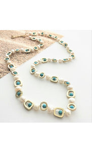 FRESH WATER PEARL & STONE METAL MIX STRAND NECKLACE
