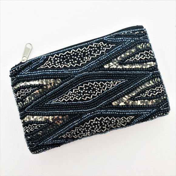 Beaded Pattern Zip Top Pouch