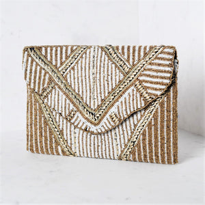 Beaded Deco Flap Over Clutch