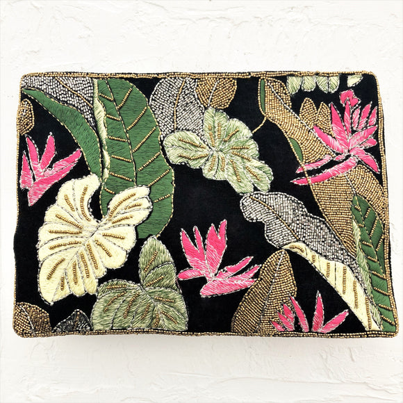 Jungle Nights Embroidered & Beaded Clutch