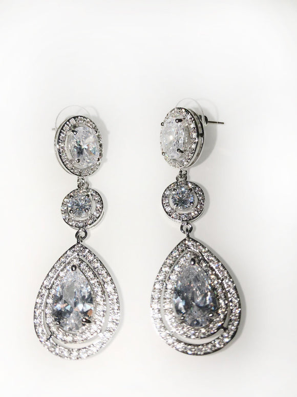 CZ Three Tier Drop Earrings