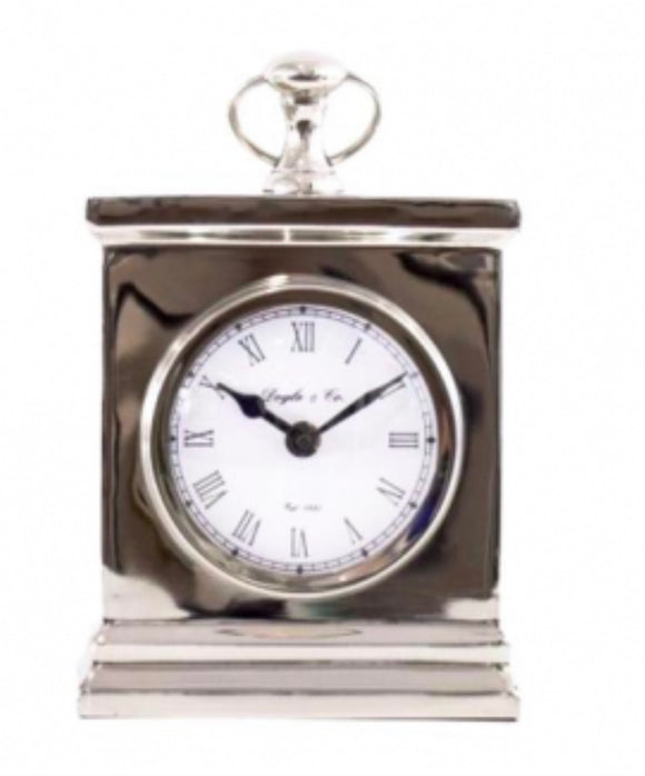 Rectangle Mantle Clock White Face Shiny