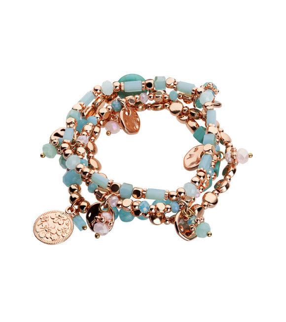Four Strand bracelet with charms Turquoise