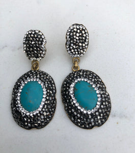 Turquoise and Swarovski Earrings
